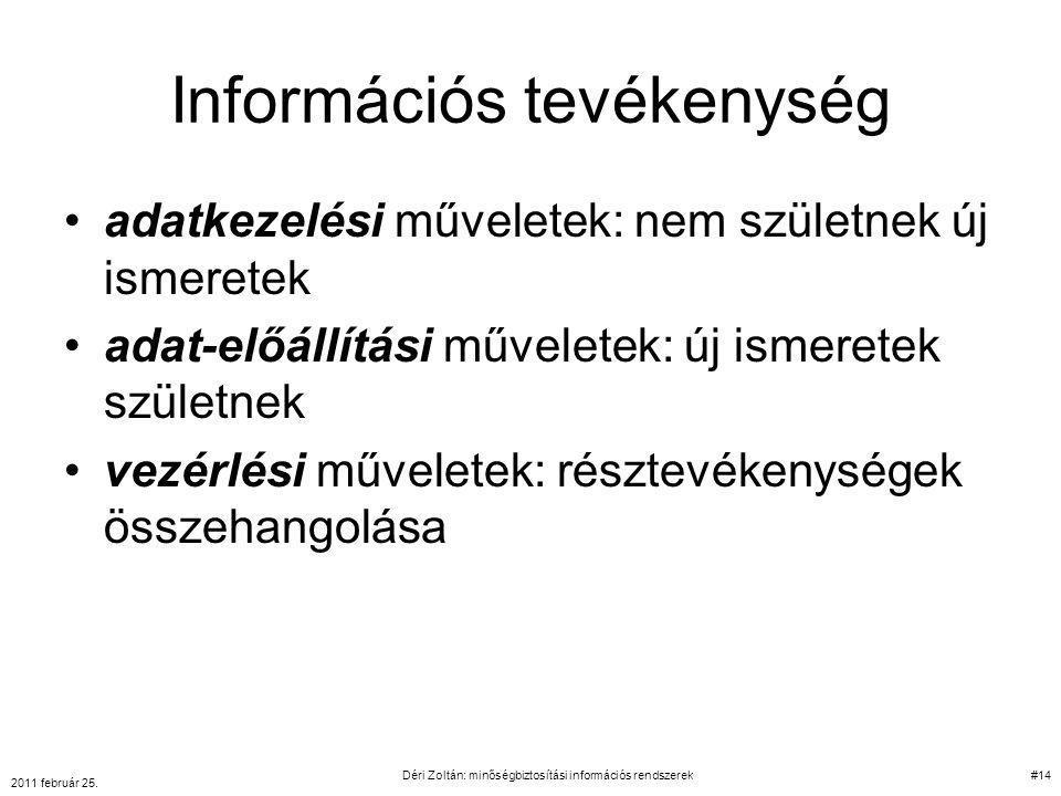 Információs tevékenység adatkezelési műveletek: nem születnek új ismeretek adat-előállítási műveletek: új ismeretek születnek vezérlési műveletek: rés