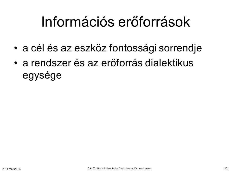 Információs erőforrások a cél és az eszköz fontossági sorrendje a rendszer és az erőforrás dialektikus egysége 2011 február 25. Déri Zoltán: minőségbi