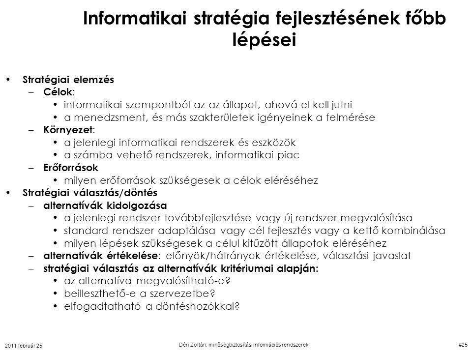 Informatikai stratégia fejlesztésének főbb lépései Stratégiai elemzés – Célok : informatikai szempontból az az állapot, ahová el kell jutni a menedzsm