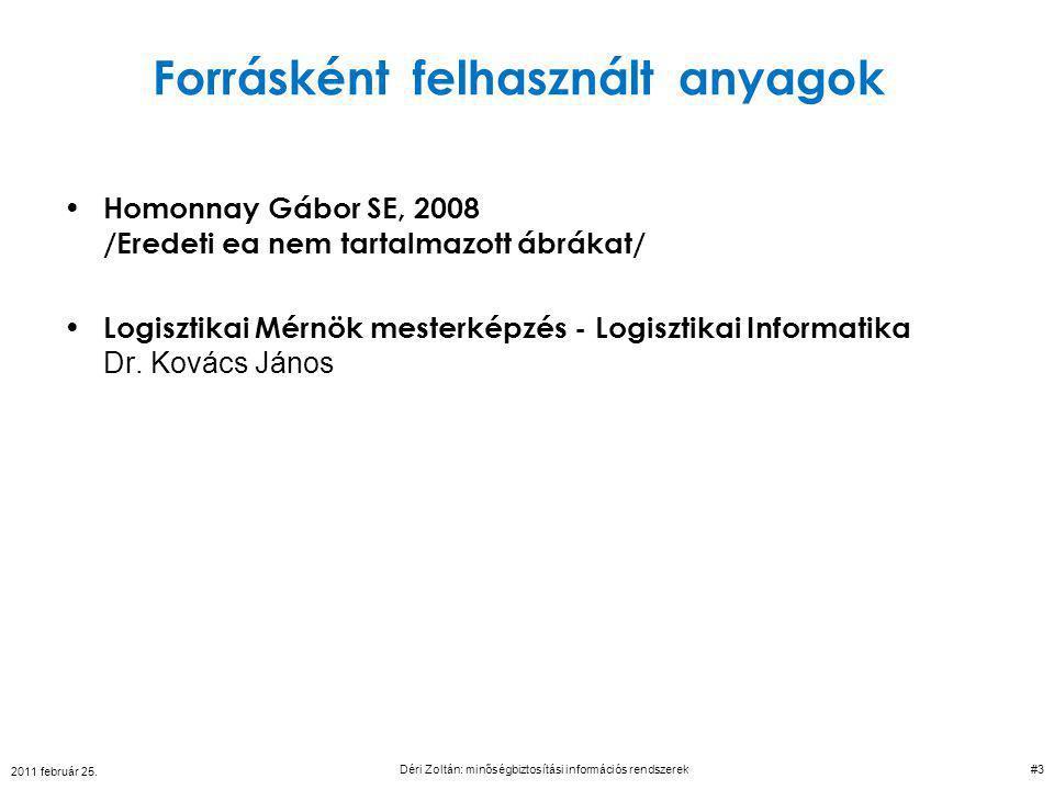 2011 február 25. Déri Zoltán: minőségbiztosítási információs rendszerek 44