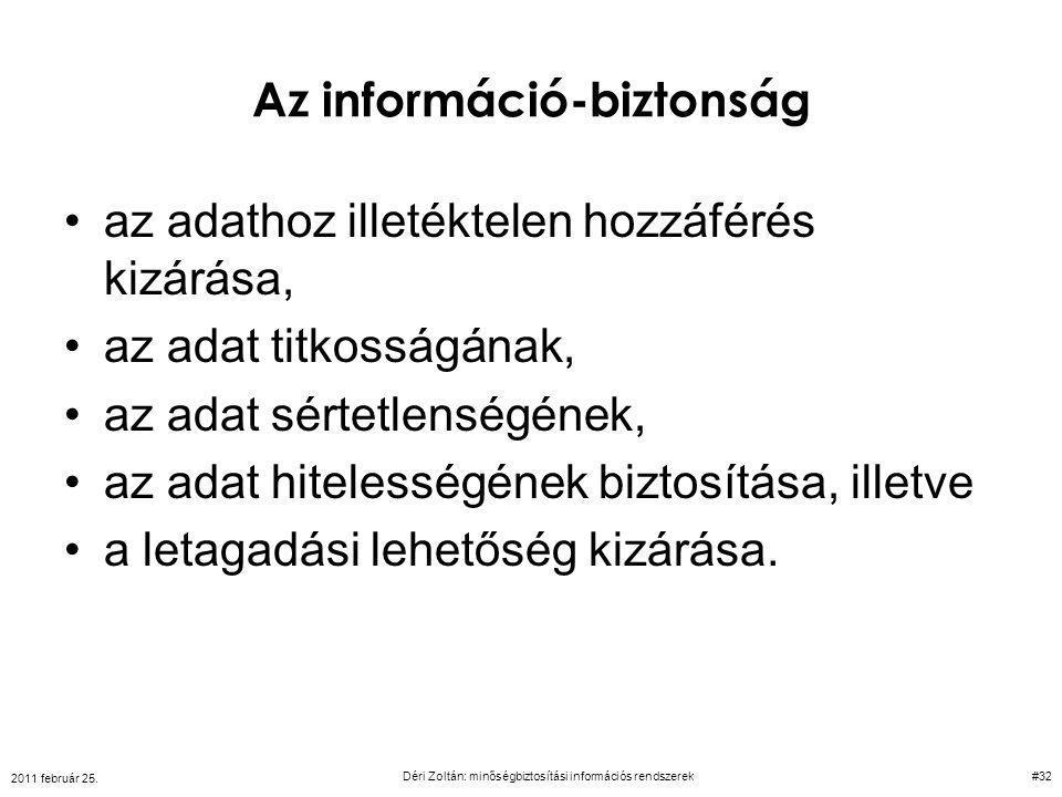Az információ-biztonság az adathoz illetéktelen hozzáférés kizárása, az adat titkosságának, az adat sértetlenségének, az adat hitelességének biztosítá