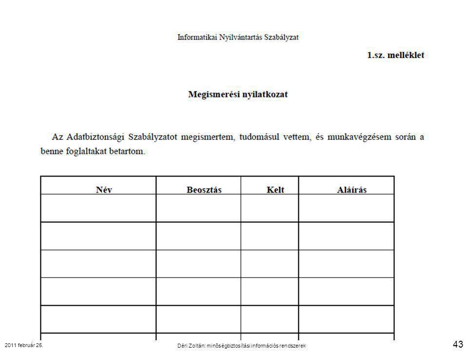 2011 február 25. Déri Zoltán: minőségbiztosítási információs rendszerek 43