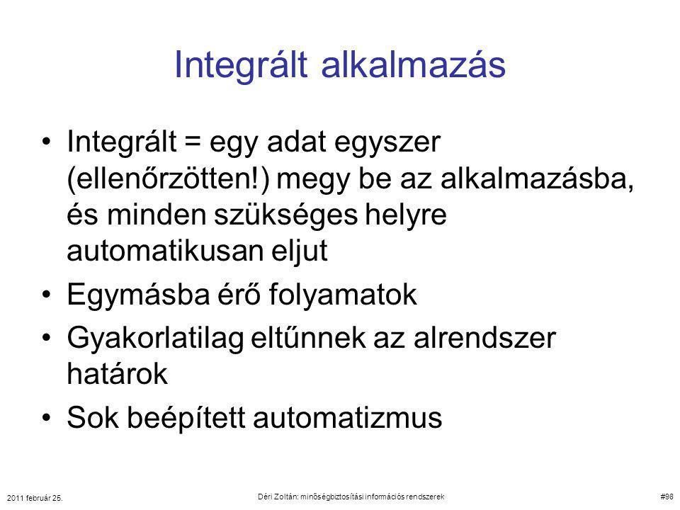 Integrált alkalmazás Integrált = egy adat egyszer (ellenőrzötten!) megy be az alkalmazásba, és minden szükséges helyre automatikusan eljut Egymásba ér