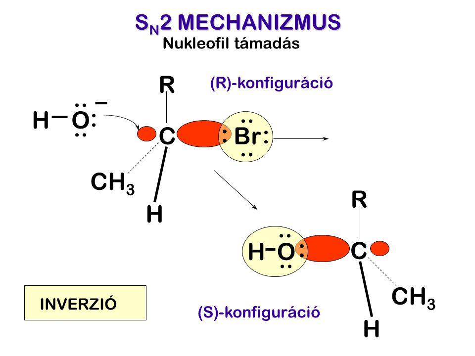 S N 2 MECHANIZMUS O C R H CH 3 H O :.. Nukleofil támadás (R)-konfiguráció (S)-konfiguráció C R H CH 3 Br : :.. H : INVERZIÓ