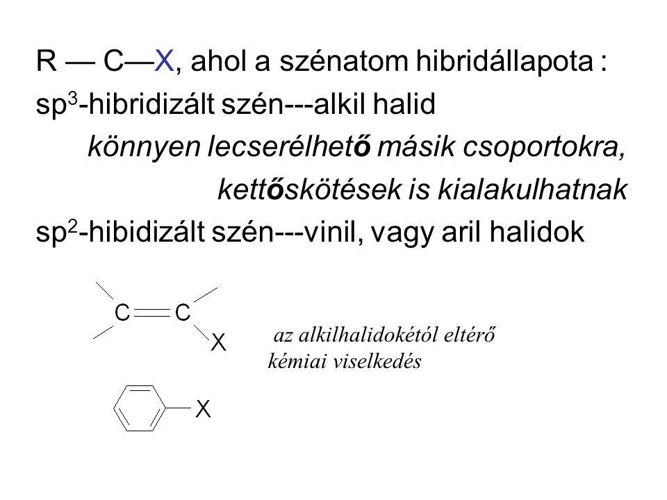 R — C—X, ahol a szénatom hibridállapota : sp 3 -hibridizált szén---alkil halid könnyen lecserélhető másik csoportokra, kettőskötések is kialakulhatnak