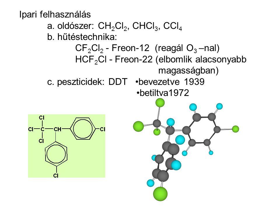 Ipari felhasználás a. oldószer: CH 2 Cl 2, CHCl 3, CCl 4 b. hűtéstechnika: CF 2 Cl 2 - Freon-12 (reagál O 3 –nal) HCF 2 Cl - Freon-22 (elbomlik alacso