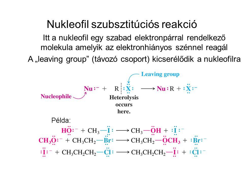 ROR R CCR R C O OR NUKLEOFILEK NukleofilProduktum RX alkil halidok ROH alkoholok éterek CNR nitrilek észterek alkinok R SH tiolok termék ' ' R-Y + Nu R-Nu + Y