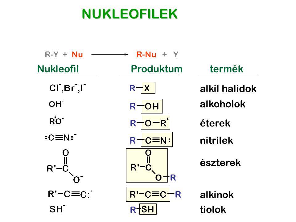 ROR R'CCR R'C O OR NUKLEOFILEK NukleofilProduktum RX alkil halidok ROH alkoholok éterek CNR nitrilek észterek alkinok R SH tiolok termék ' ' R-Y + Nu