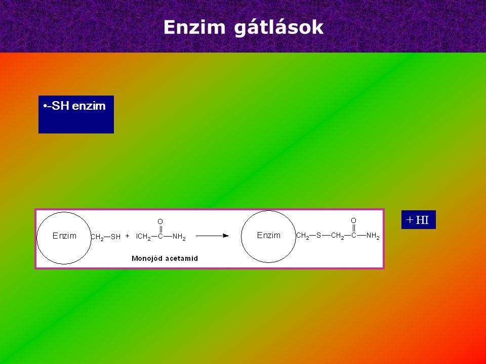 Enzim gátlások Irreverzibilis – – Ser-OH – – Cys-SH Reverzibilis + HF