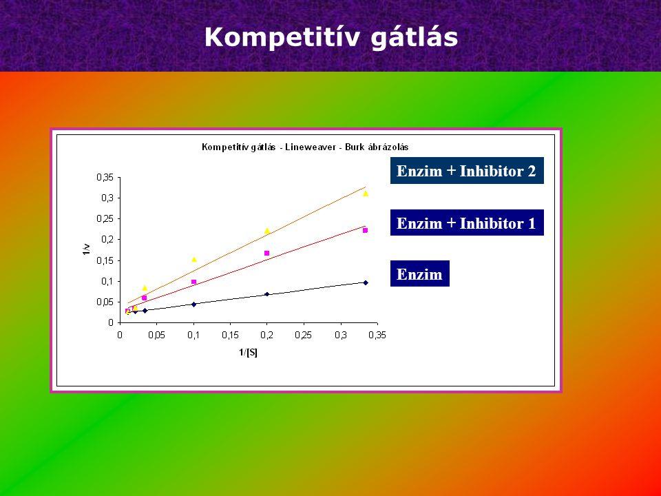 Kompetitív gátlás 1/[S] 1/v y=a*x+b 1/V MAX Csak enzim E + inhibitor-1 E + inhibitor-2