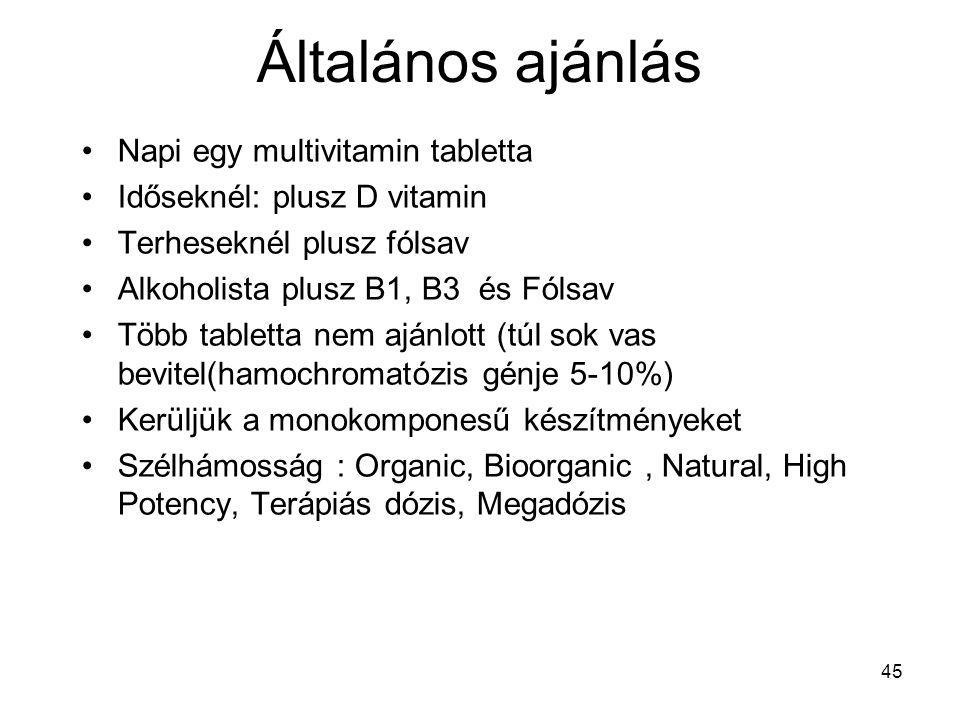 45 Általános ajánlás Napi egy multivitamin tabletta Időseknél: plusz D vitamin Terheseknél plusz fólsav Alkoholista plusz B1, B3 és Fólsav Több tablet
