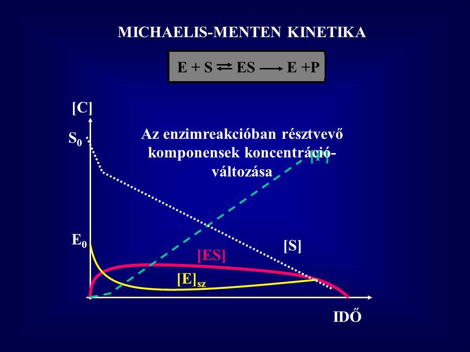 MICHAELIS-MENTEN KINETIKA E + S  ES E +P IDŐ [C] [ES] [E] sz E0E0 [P] S0S0 [S] Az enzimreakcióban résztvevő komponensek koncentráció- változása