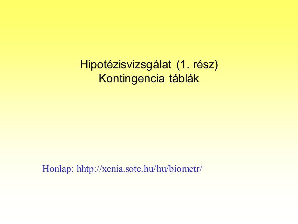 Hipotézisvizsgálat (1. rész) Kontingencia táblák Honlap: hhtp://xenia.sote.hu/hu/biometr/