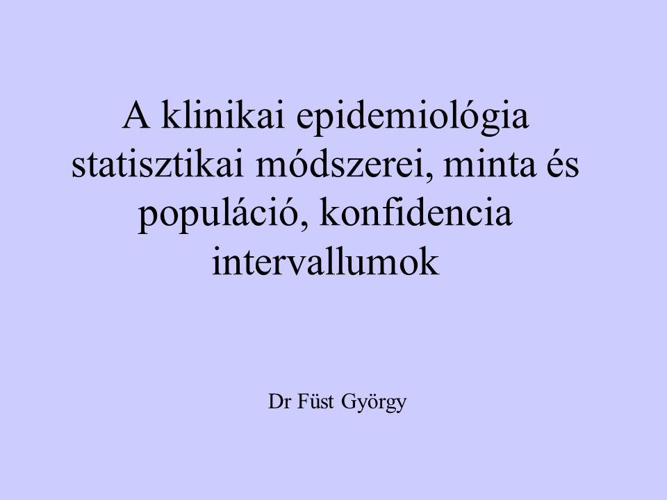A klinikai epidemiológia statisztikai módszerei, minta és populáció, konfidencia intervallumok Dr Füst György