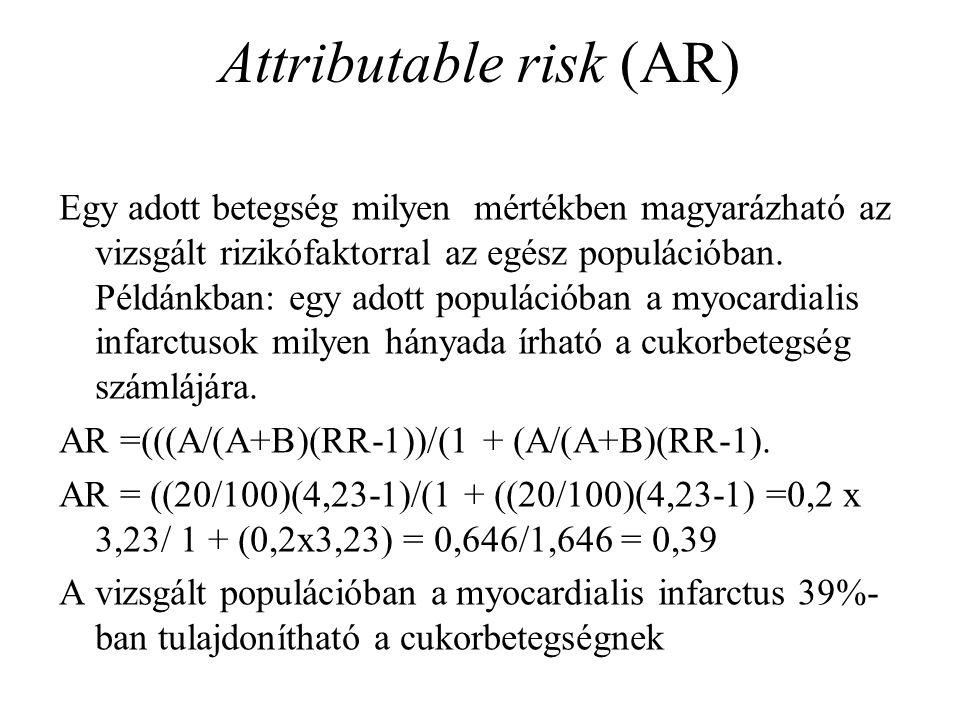 Attributable risk (AR) Egy adott betegség milyen mértékben magyarázható az vizsgált rizikófaktorral az egész populációban. Példánkban: egy adott popul