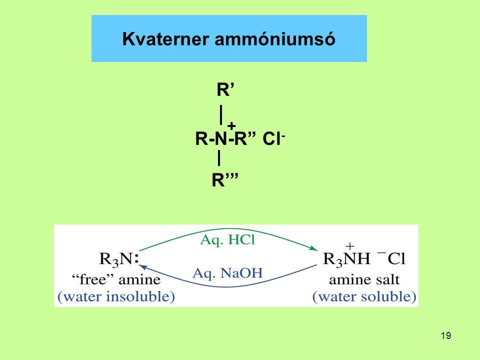 "19 Kvaterner ammóniumsó R' R-N-R"" Cl - R'"" +"