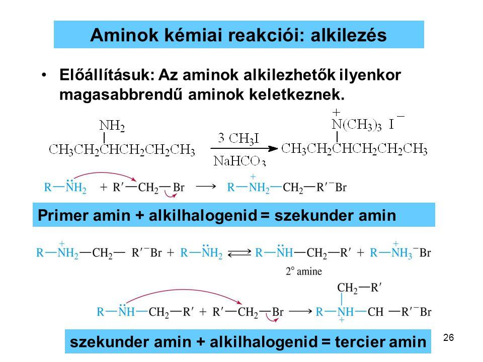 26 Aminok kémiai reakciói: alkilezés Előállításuk: Az aminok alkilezhetők ilyenkor magasabbrendű aminok keletkeznek. Primer amin + alkilhalogenid = sz