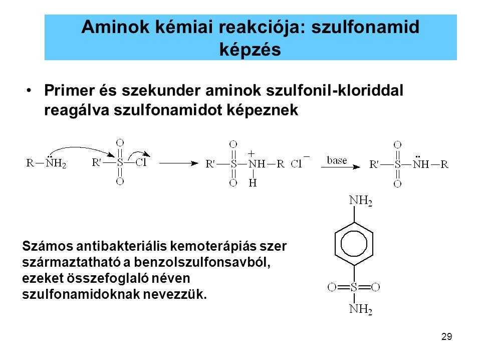 29 Aminok kémiai reakciója: szulfonamid képzés Primer és szekunder aminok szulfonil-kloriddal reagálva szulfonamidot képeznek Számos antibakteriális k