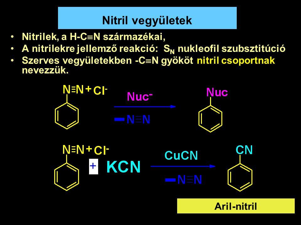 39 Nitril vegyületek Nitrilek, a H-C  N származékai, A nitrilekre jellemző reakció: S N nukleofil szubsztitúció Szerves vegyületekben -C  N gyököt n