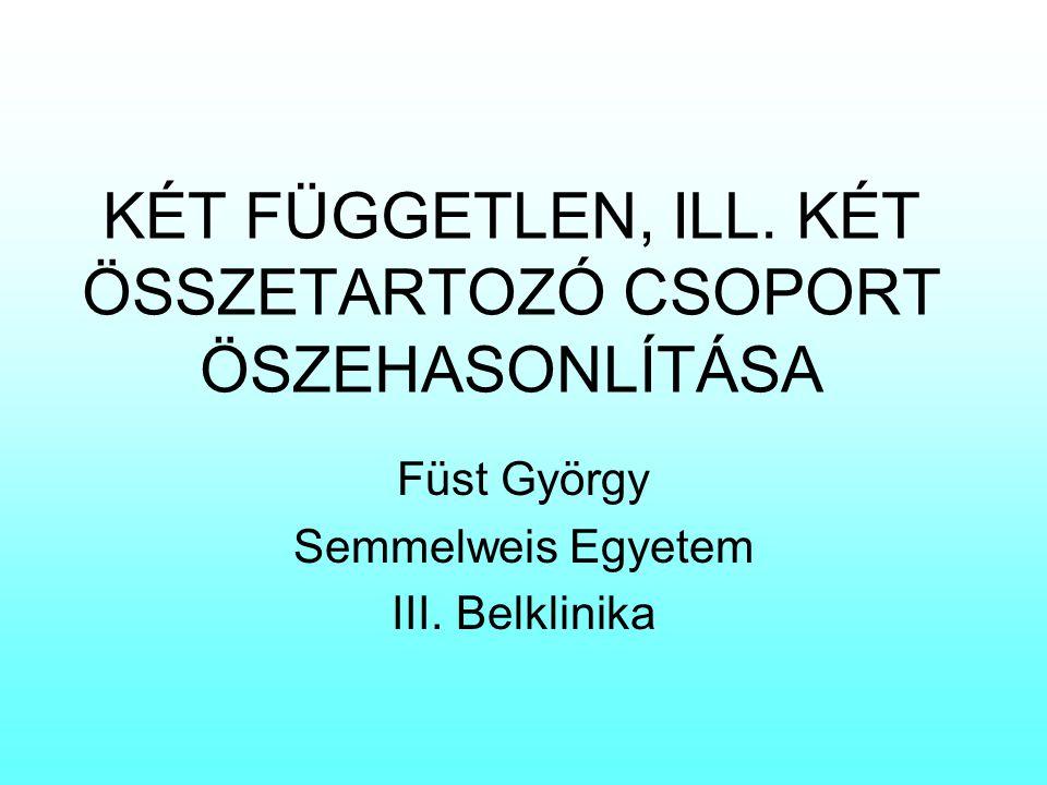 KÉT FÜGGETLEN, ILL. KÉT ÖSSZETARTOZÓ CSOPORT ÖSZEHASONLÍTÁSA Füst György Semmelweis Egyetem III. Belklinika
