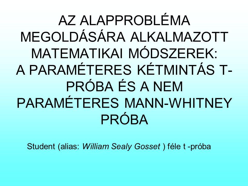 AZ ALAPPROBLÉMA MEGOLDÁSÁRA ALKALMAZOTT MATEMATIKAI MÓDSZEREK: A PARAMÉTERES KÉTMINTÁS T- PRÓBA ÉS A NEM PARAMÉTERES MANN-WHITNEY PRÓBA Student (alias
