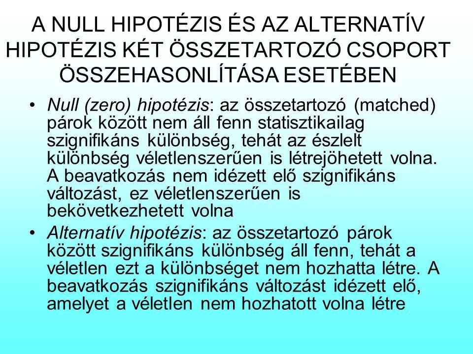 A NULL HIPOTÉZIS ÉS AZ ALTERNATÍV HIPOTÉZIS KÉT ÖSSZETARTOZÓ CSOPORT ÖSSZEHASONLÍTÁSA ESETÉBEN Null (zero) hipotézis: az összetartozó (matched) párok