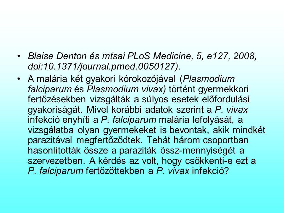 Blaise Denton és mtsai PLoS Medicine, 5, e127, 2008, doi:10.1371/journal.pmed.0050127). A malária két gyakori kórokozójával (Plasmodium falciparum és