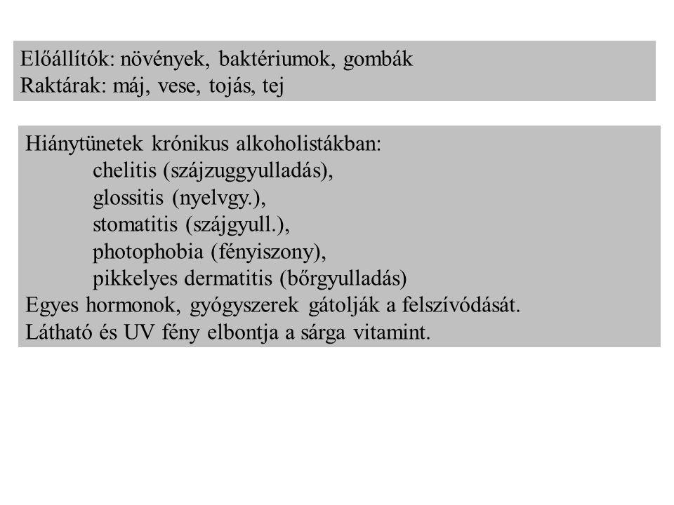 Előállítók: növények, baktériumok, gombák Raktárak: máj, vese, tojás, tej Hiánytünetek krónikus alkoholistákban: chelitis (szájzuggyulladás), glossitis (nyelvgy.), stomatitis (szájgyull.), photophobia (fényiszony), pikkelyes dermatitis (bőrgyulladás) Egyes hormonok, gyógyszerek gátolják a felszívódását.