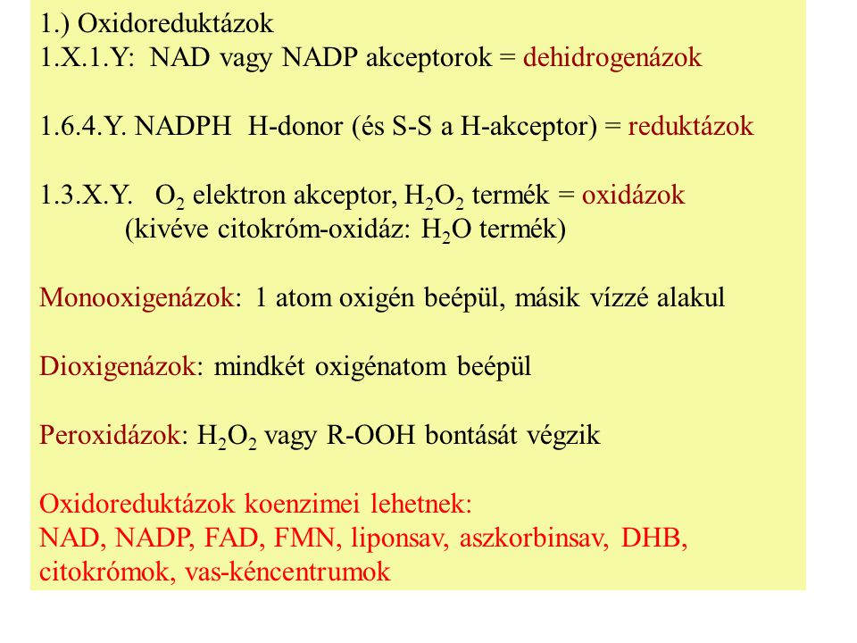 1.) Oxidoreduktázok 1.X.1.Y: NAD vagy NADP akceptorok = dehidrogenázok 1.6.4.Y.