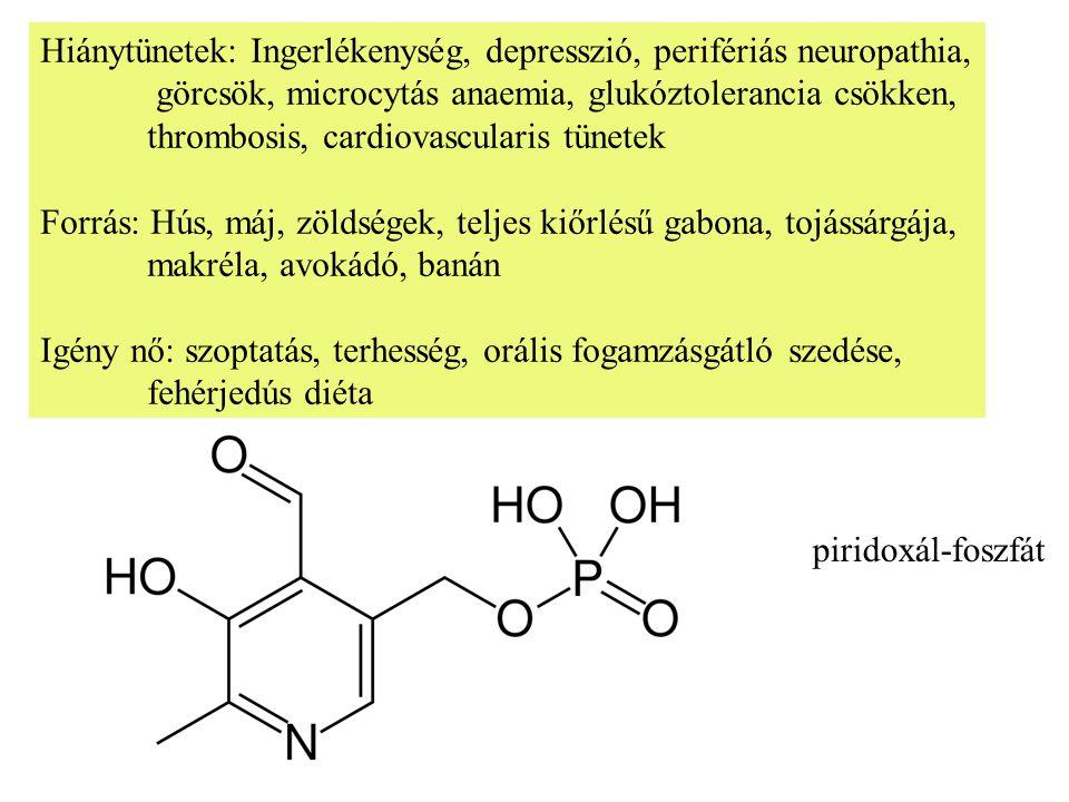 Hiánytünetek: Ingerlékenység, depresszió, perifériás neuropathia, görcsök, microcytás anaemia, glukóztolerancia csökken, thrombosis, cardiovascularis tünetek Forrás: Hús, máj, zöldségek, teljes kiőrlésű gabona, tojássárgája, makréla, avokádó, banán Igény nő: szoptatás, terhesség, orális fogamzásgátló szedése, fehérjedús diéta piridoxál-foszfát