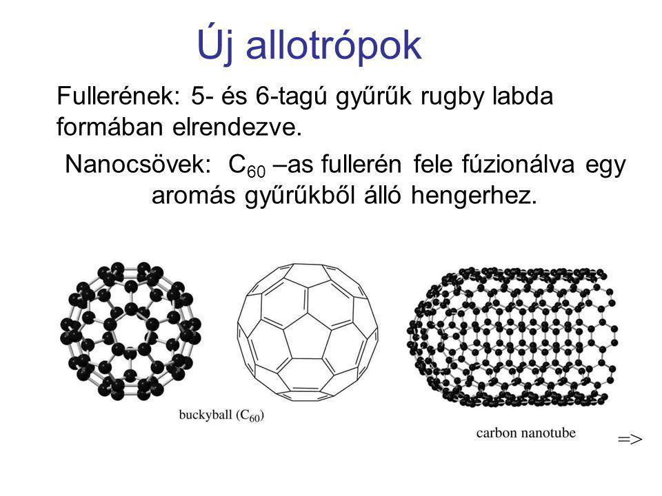 Új allotrópok Fullerének: 5- és 6-tagú gyűrűk rugby labda formában elrendezve. Nanocsövek: C 60 –as fullerén fele fúzionálva egy aromás gyűrűkből álló