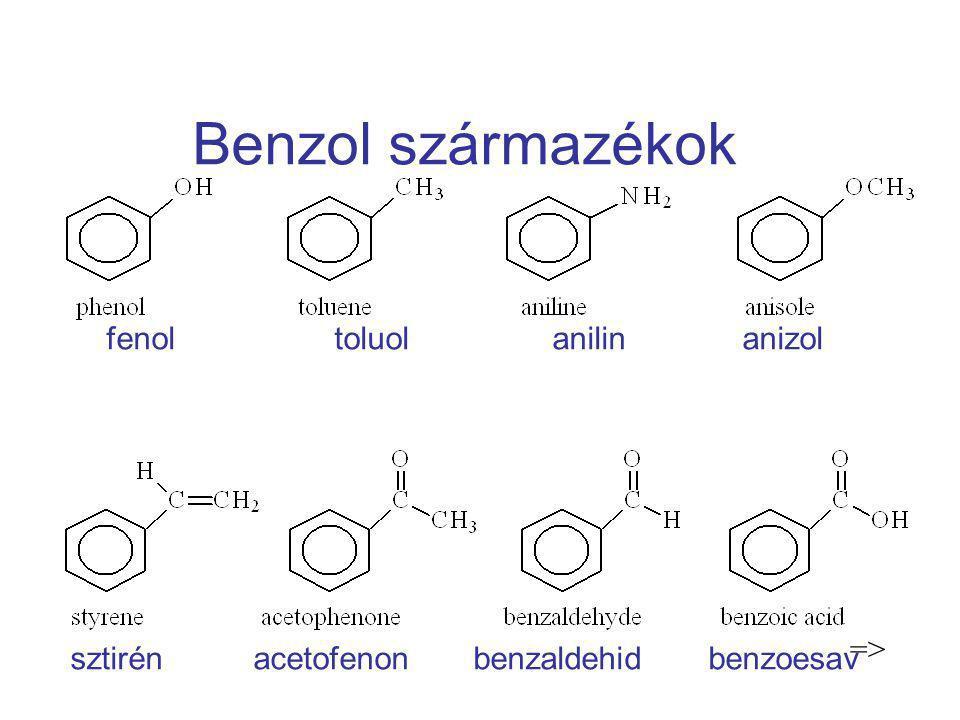Benzol származékok fenol toluol anilin anizol sztirén acetofenon benzaldehid benzoesav =>