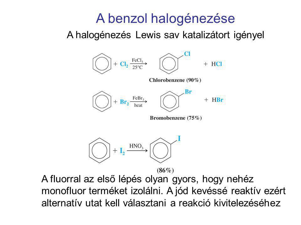 A benzol halogénezése A halogénezés Lewis sav katalizátort igényel A fluorral az első lépés olyan gyors, hogy nehéz monofluor terméket izolálni. A jód