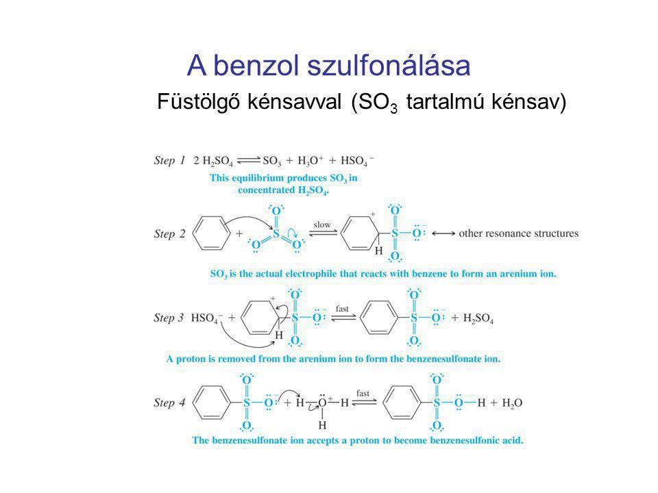 A benzol szulfonálása Füstölgő kénsavval (SO 3 tartalmú kénsav)