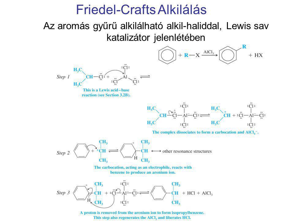 Friedel-Crafts Alkilálás Az aromás gyűrű alkilálható alkil-haliddal, Lewis sav katalizátor jelenlétében