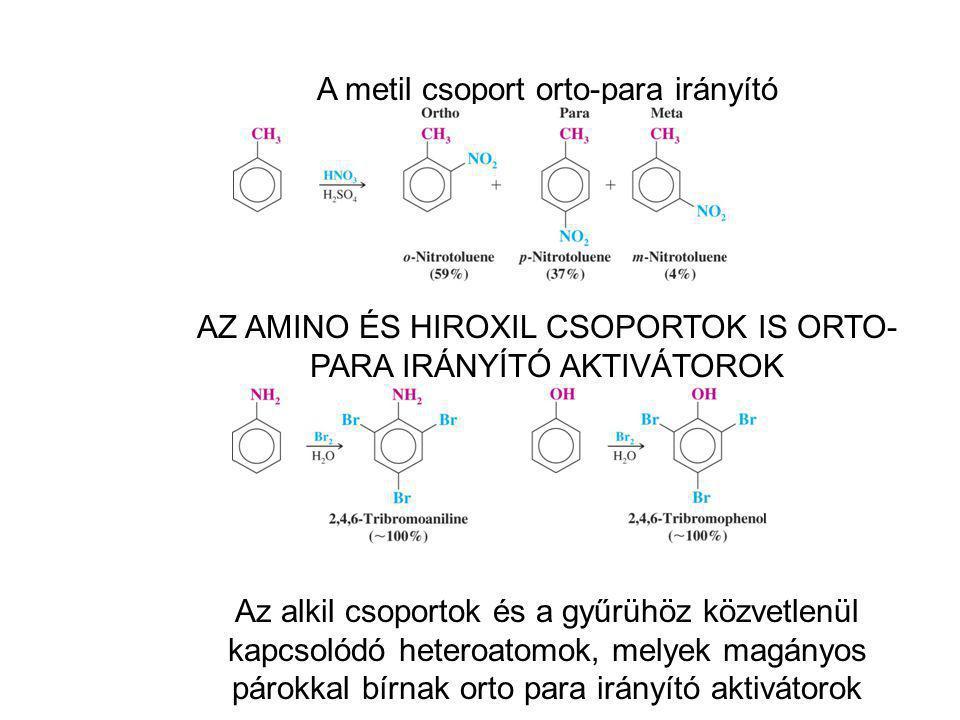 A metil csoport orto-para irányító AZ AMINO ÉS HIROXIL CSOPORTOK IS ORTO- PARA IRÁNYÍTÓ AKTIVÁTOROK Az alkil csoportok és a gyűrühöz közvetlenül kapcs