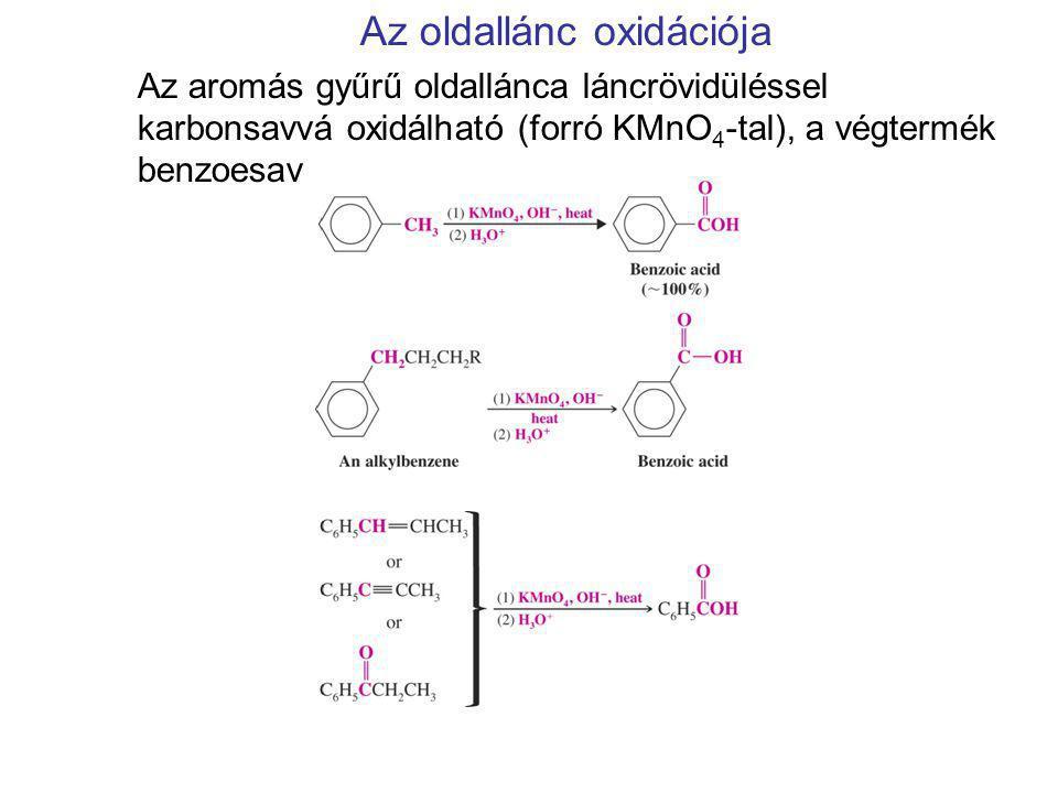 Az oldallánc oxidációja Az aromás gyűrű oldallánca láncrövidüléssel karbonsavvá oxidálható (forró KMnO 4 -tal), a végtermék benzoesav