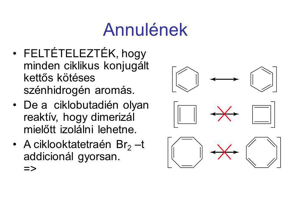 Annulének FELTÉTELEZTÉK, hogy minden ciklikus konjugált kettős kötéses szénhidrogén aromás. De a ciklobutadién olyan reaktív, hogy dimerizál mielőtt i