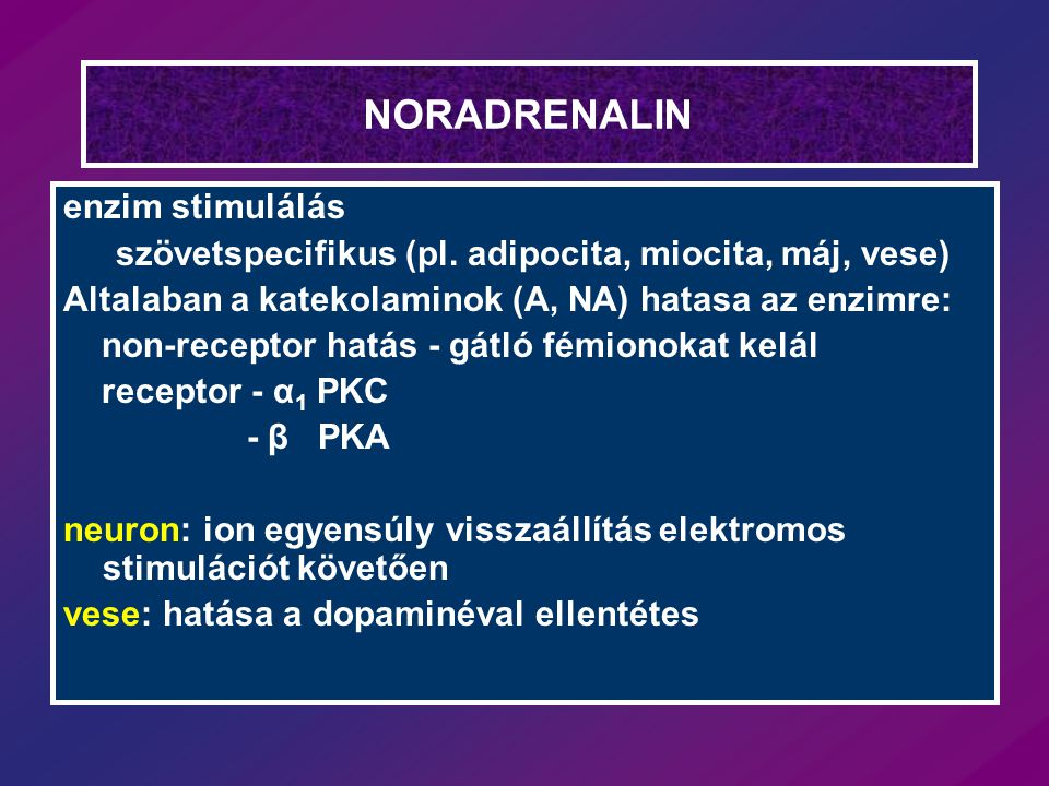 NORADRENALIN enzim stimulálás szövetspecifikus (pl. adipocita, miocita, máj, vese) Altalaban a katekolaminok (A, NA) hatasa az enzimre: non-receptor h