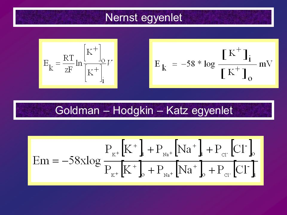 Nernst egyenlet Goldman – Hodgkin – Katz egyenlet