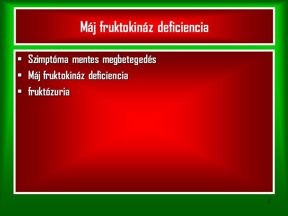 12 Máj fruktokináz deficiencia Szimptóma mentes megbetegedés Szimptóma mentes megbetegedés Máj fruktokináz deficiencia Máj fruktokináz deficiencia fruktózuria fruktózuria