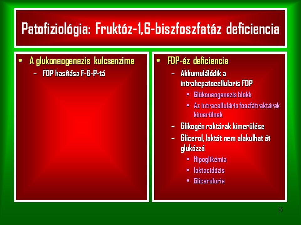 26 Patofiziológia: Fruktóz-1,6-biszfoszfatáz deficiencia A glukoneogenezis kulcsenzime A glukoneogenezis kulcsenzime – FDP hasítása F-6-P-tá FDP-áz deficiencia FDP-áz deficiencia – Akkumulálódik a intrahepatocellularis FDP Glükoneogenezis blokk Glükoneogenezis blokk Az intracelluláris foszfátraktárak kimerülnek Az intracelluláris foszfátraktárak kimerülnek – Glikogén raktárak kimerülése – Glicerol, laktát nem alakulhat át glukózzá Hipoglikémia Hipoglikémia laktacidózis laktacidózis Gliceroluria Gliceroluria