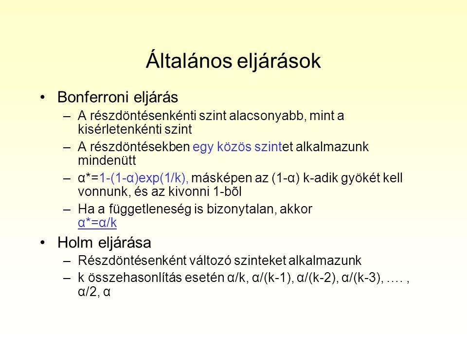Általános eljárások Bonferroni eljárás –A részdöntésenkénti szint alacsonyabb, mint a kisérletenkénti szint –A részdöntésekben egy közös szintet alkalmazunk mindenütt –α*=1-(1-α)exp(1/k), másképen az (1-α) k-adik gyökét kell vonnunk, és az kivonni 1-bõl –Ha a függetleneség is bizonytalan, akkor α*=α/k Holm eljárása –Részdöntésenként változó szinteket alkalmazunk –k összehasonlítás esetén α/k, α/(k-1), α/(k-2), α/(k-3), …., α/2, α