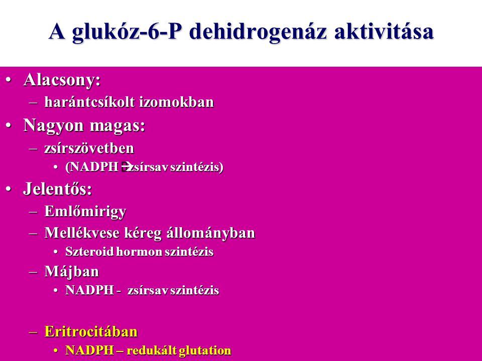 A glukóz-6-P dehidrogenáz aktivitása Alacsony:Alacsony: –harántcsíkolt izomokban Nagyon magas:Nagyon magas: –zsírszövetben (NADPH  zsírsav szintézis)