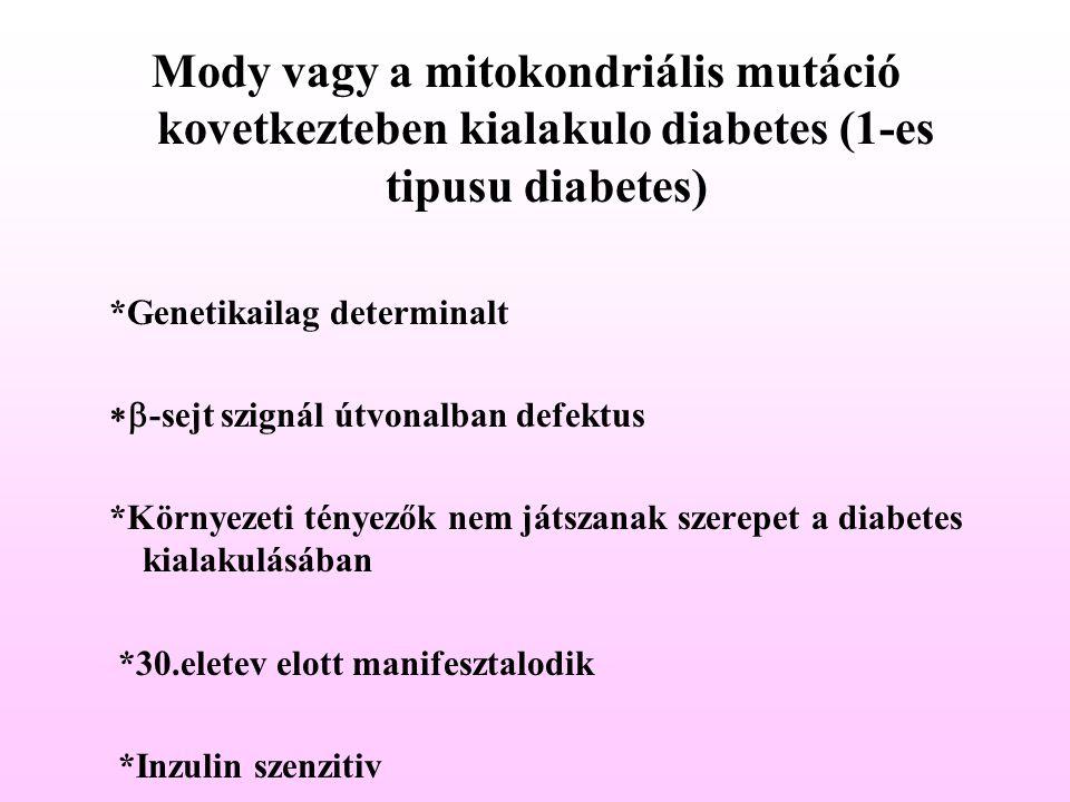 Mody vagy a mitokondriális mutáció kovetkezteben kialakulo diabetes (1-es tipusu diabetes) *Genetikailag determinalt  -sejt szignál útvonalban defek