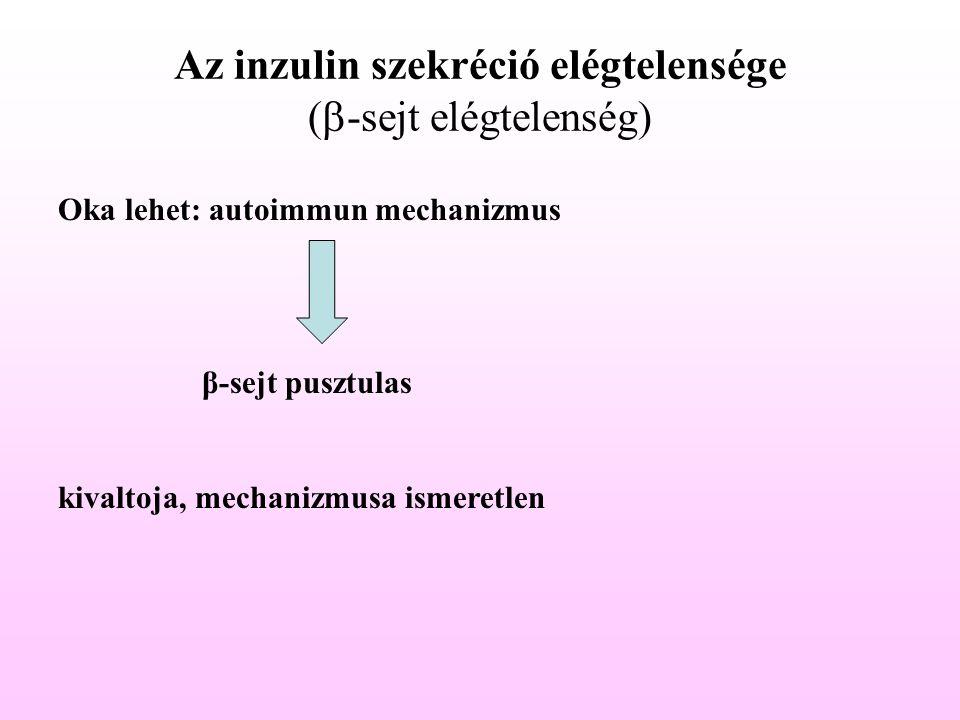 Az inzulin szekréció elégtelensége (  -sejt elégtelenség) Oka lehet: autoimmun mechanizmus β-sejt pusztulas kivaltoja, mechanizmusa ismeretlen