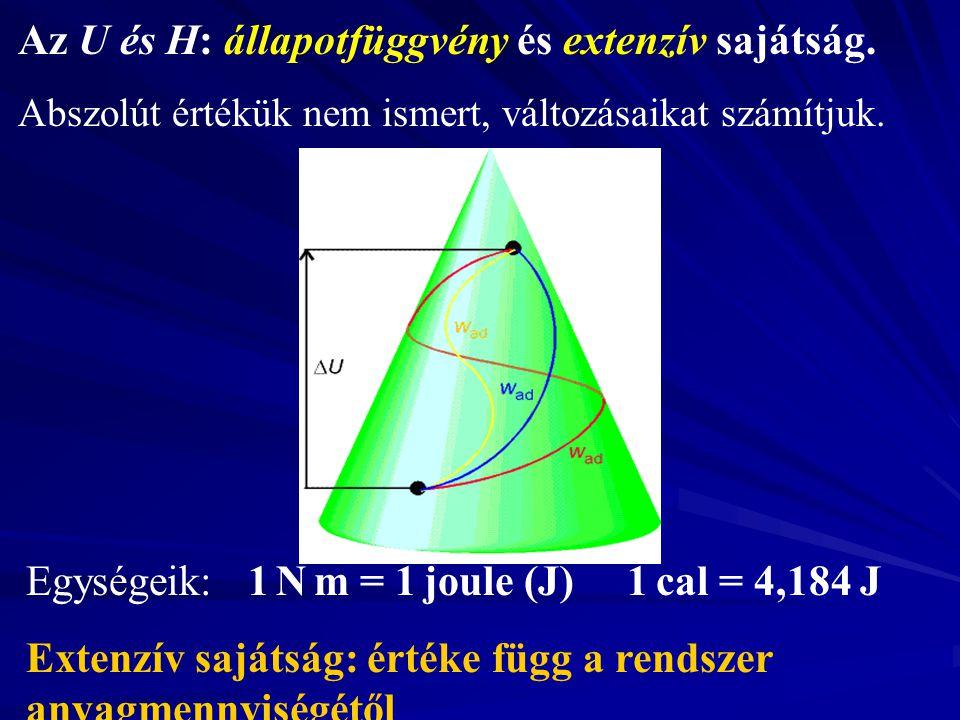 Az U és H: állapotfüggvény és extenzív sajátság.