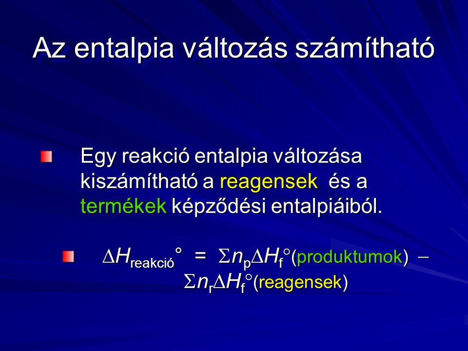 Az entalpia változás számítható Egy reakció entalpia változása kiszámítható a reagensek és a termékek képződési entalpiáiból.
