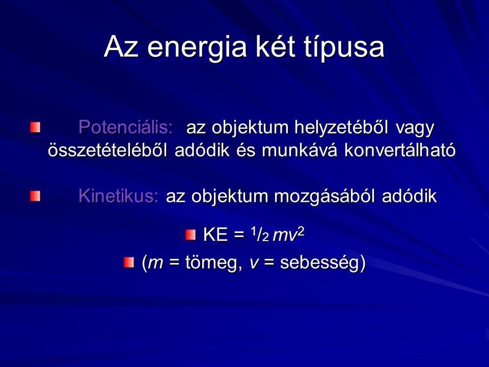 Az energia két típusa Potenciális: az objektum helyzetéből vagy összetételéből adódik és munkává konvertálható Kinetikus: az objektum mozgásából adódik KE = 1 / 2 mv 2 (m = tömeg, v = sebesség)