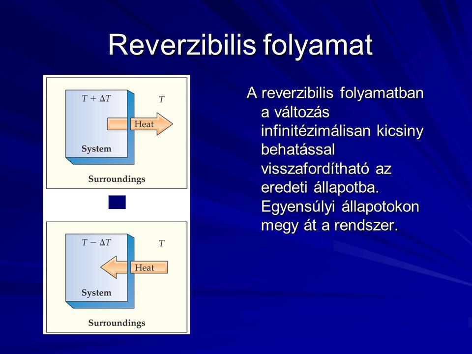 Reverzibilis folyamat Reverzibilis folyamat A reverzibilis folyamatban a változás infinitézimálisan kicsiny behatással visszafordítható az eredeti állapotba.
